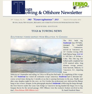 Press Release Towingline Newsletter Nov 2014